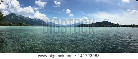 View from the promenade to Lac d'Annecy and mountains