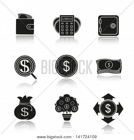Banking and finance drop shadow black icons set. Wallet with cash, calculations, bank vault, investment search, us dollar coin and banknotes stack, money bag and tree. Isolated vector illustrations