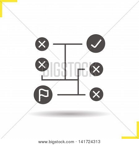 Problem solving icon. Logistics. Drop shadow silhouette symbol. Decision making. Vector isolated illustration