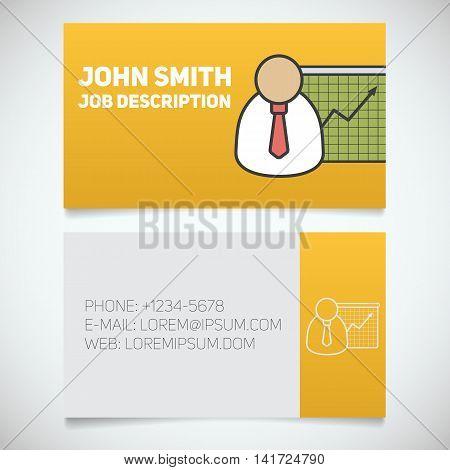 Business card print template with presentation graph logo. Easy edit. Marketer. Stockbroker. Jobber. Analyst. Manager. Stationery design concept. Vector illustration