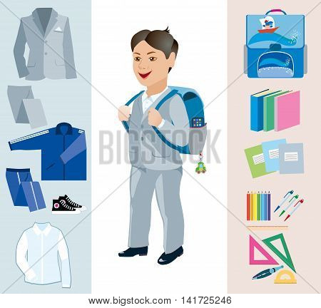 Schoolgirl with satchel behind and various school subjects