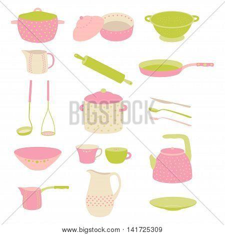Cute colorful kitchen utensil set. Colorful crockery. Flat design. Crockery polka dot pink, green set