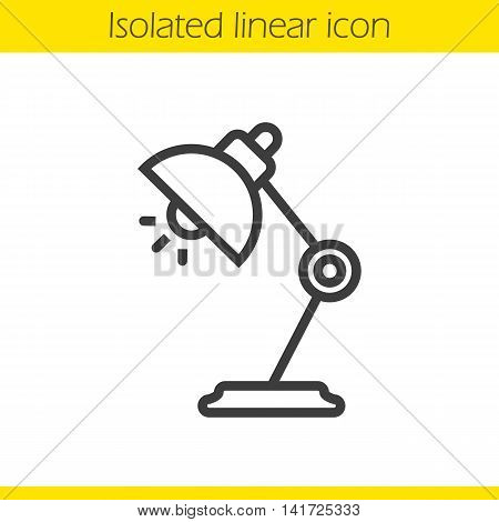 Table lamp linear icon. Thin line illustration. Desk lamp contour symbol. Vector isolated outline drawing