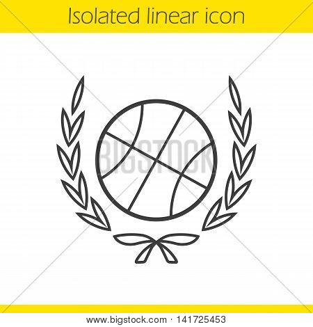 Basketball ball in laurel wreath linear icon. Thin line illustration. Contour symbol. Vector isolated outline drawing