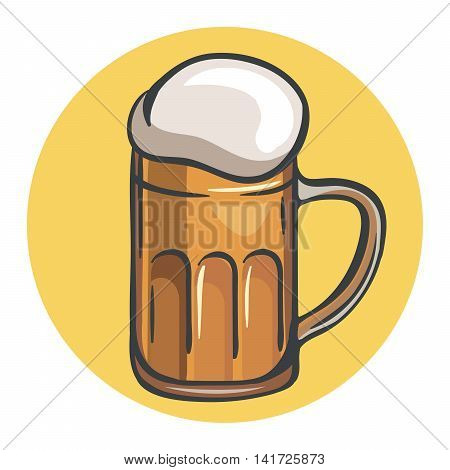 mug of beer. colored illustration on a yellow background