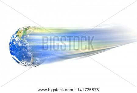 Conceptual image of moving globe on white background. Furnished NASA image used for this image.
