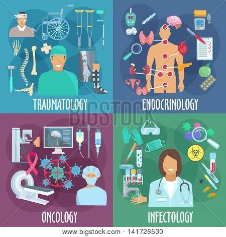 Traumatology, endocrinology, oncology and infectiology icons with doctor, diagnostic equipment, laboratory research, medicines and treatment, rehabilitation therapy and preventive action symbols