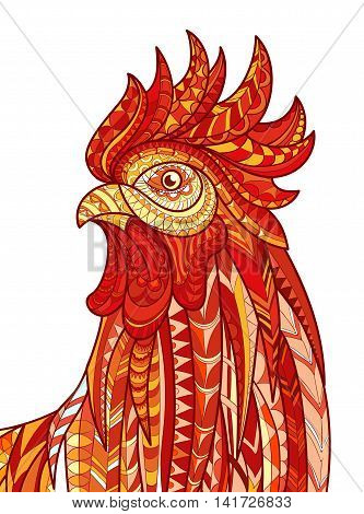 Hand drawn doodle outline rooster illustration. Patterned fiery on the white background. Symbol of chinese new year 2017. It may be used for design a t-shirt, bag, postcard, poster and so .