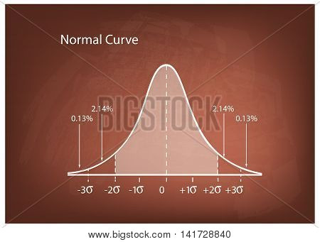 Business and Marketing Concepts Illustration of Gaussian Bell Curve or Normal Distribution Diagram on Brown Chalkboard Background..