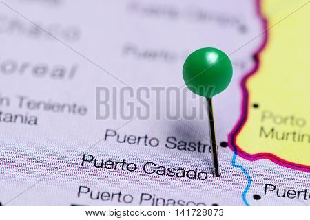 Puerto Casado pinned on a map of Paraguay