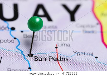 San Pedro pinned on a map of Paraguay
