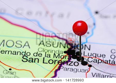 San Lorenzo pinned on a map of Paraguay
