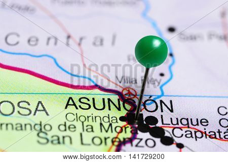 Asuncion pinned on a map of Paraguay