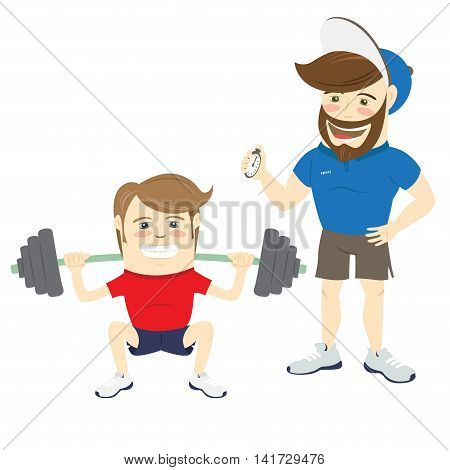 Vector illustration Bearded fitness personal trainer instructor and funny sportsman doing squats with barbell