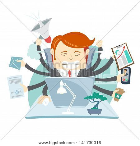 Vector illustration Busy Angry Hipster Businessman Multitasking At Desk In Office