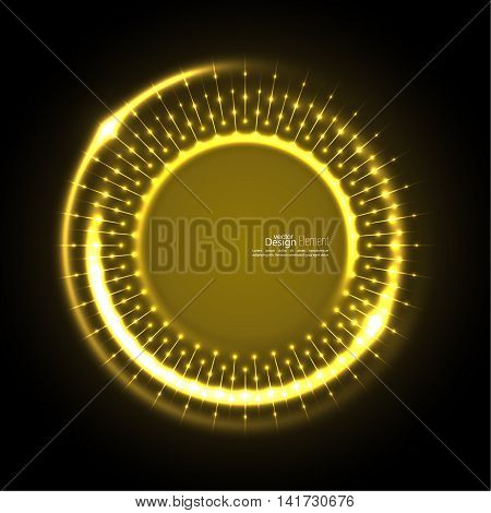 Abstract techno background with spirals and rays with glowing particles. Tech design. Lights vector frame. Glowing dots.  yellow, gold