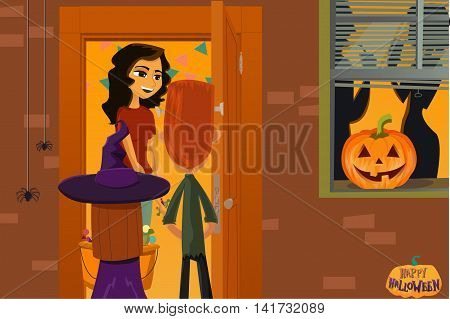 Halloween party. Children collect candy. Night of the Dead. Trick or Treat. October 31. holiday