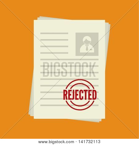 Pack of sheets of paper with stamp of rejected. Summary with  mark about refusal. Cv denial. resume, personal file