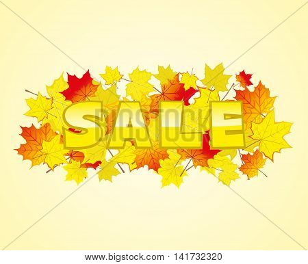 Maple leaves on a yellow background and the message of the sale.