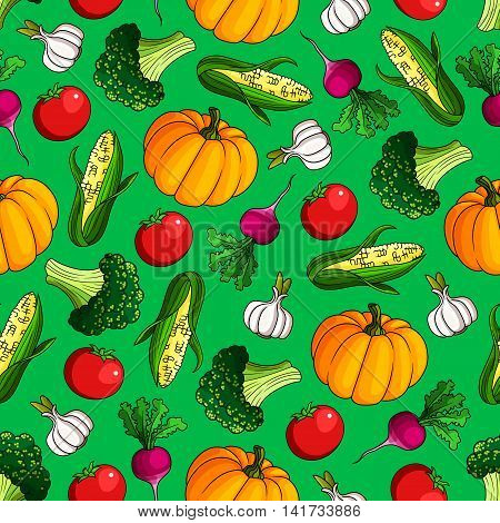 Ripe vegetables seamless pattern of sweet corn and orange pumpkin, juicy red tomato and radish, healthful green broccoli and garlic on bright green background. Agriculture theme design