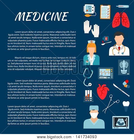 Healthcare design template with flat icons of doctor, surgeon, nurse, stethoscope, thermometer, surgical tool, heart, lungs, pill, test tube, blood pressure, ecg monitor x-ray ultrasound scan