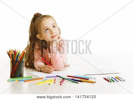 Child Education Concept Kid Girl Drawing and Dreaming School Lying down Isolated on White Background