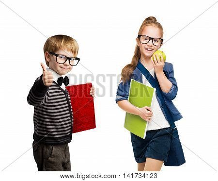 School Children Group of Boy and Girl Kids in Glasses Going Back to School Isolated over White Background