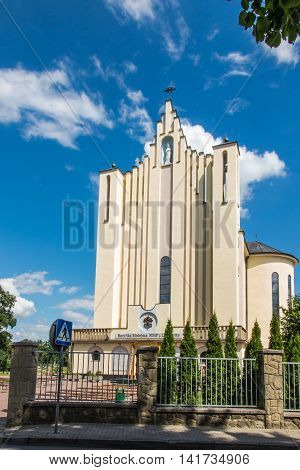 Debowiec Poland - July 20 2016: Basilica of the Virgin of Our Lady of La Salette in Debowiec in Poland. The Fathers Missionaries of La Salette