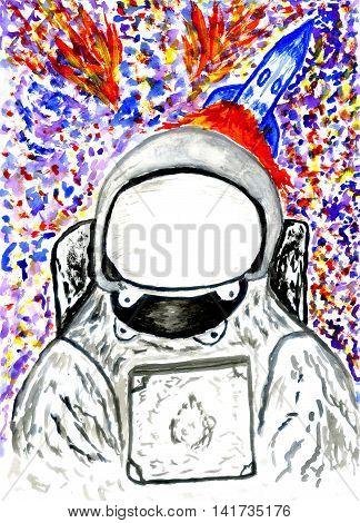 Cartoon Painted Astronaut