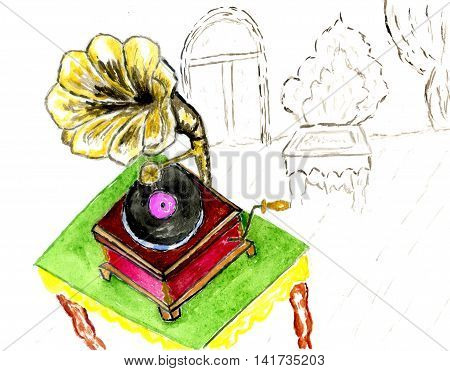 Vintage gramophone in the room abstract colorful sketch illustration.