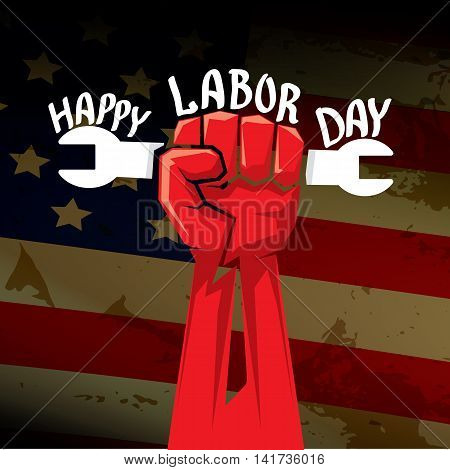 Usa labor day vector background. vector happy labor day poster or banner with clenched fist.