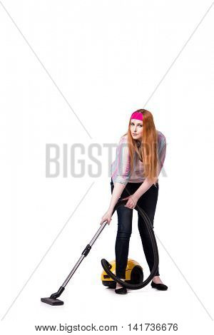 Funny housewife with vacuum cleaner isolated on white