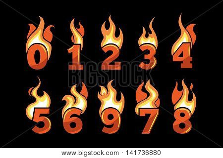 vector realistic icons set of Flaming Numbers. Pictures isolate on dark background. Illustrations for your personal emblems or logo design