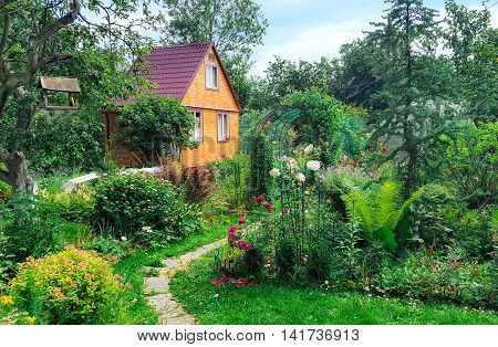 Summer wooden house on background of green garden,  landscape.
