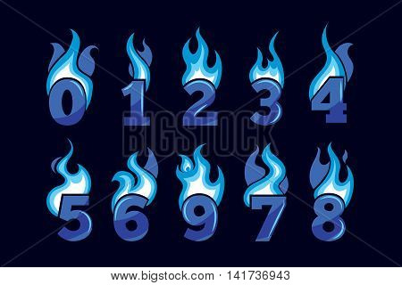 vector cartoon icons set of blue Flaming Numbers. Pictures isolate on black background. Illustrations for your personal emblems or logo design