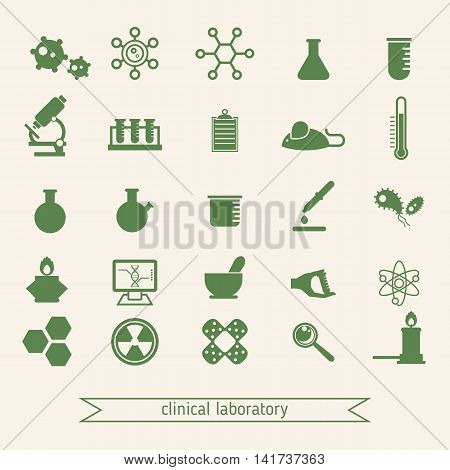Medical and clinical laboratory icons set created for mobile web and applications