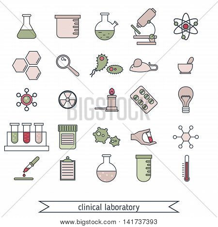 Set of medical and clinical laboratory colored icons.