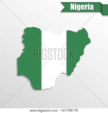 Nigeria map with flag inside and ribbon