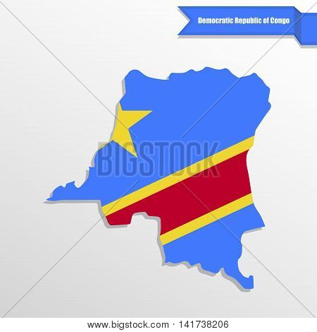 Democratic Repuplic of Congo map with flag inside and ribbon