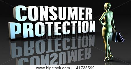 Consumer Protection as a Concept with Lady Holding Shopping Bags 3d Render