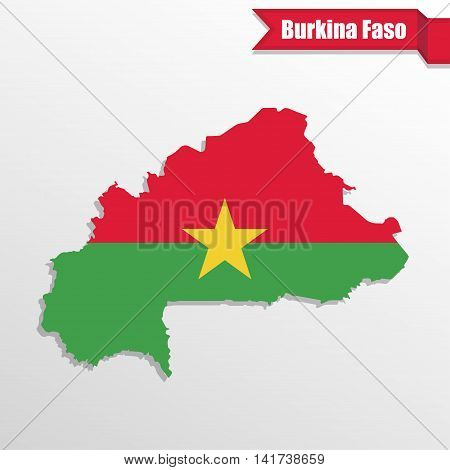 Burkina Faso map with flag inside and ribbon