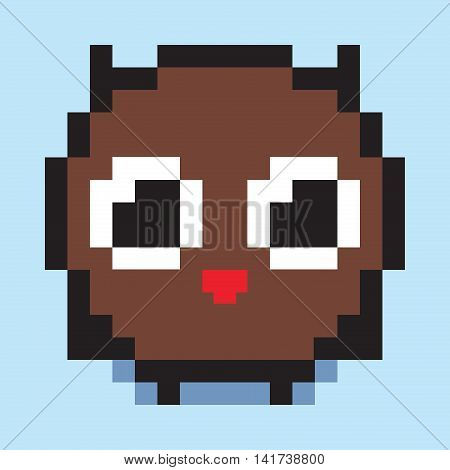 Pixel art, minimalistic owl chick, flat web icon, vector design object