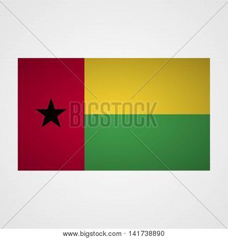 Guinea Bissau flag on a gray background. Vector illustration