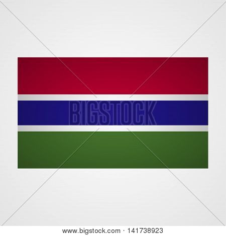 Gambia flag on a gray background. Vector illustration