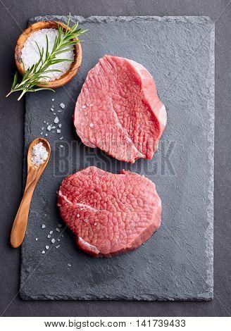 Beef steak. Graphite board
