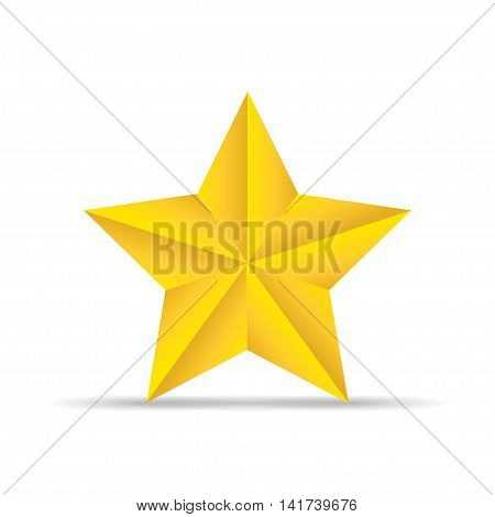 Golden star with shadow on a white backgrond