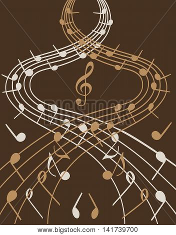 Stylish illustration of music notes on brown background  for slogan, poster,  flier or etc. Vector can be used with any image or text.