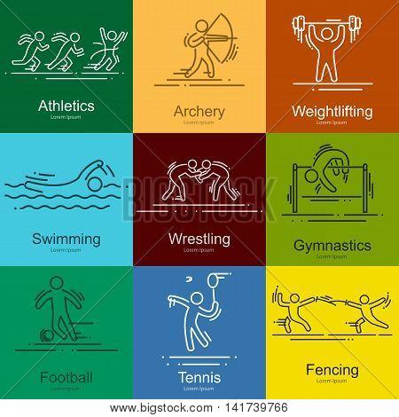 sports thin line vector icons set illustration