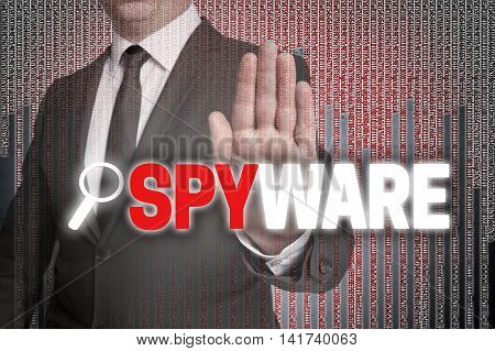 Spyware With Matrix Is Shown By Businessman