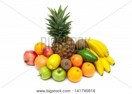pineapple and other fruits isolated on white background. horizontal photo.